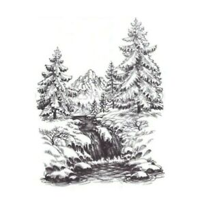 Winter Waterfall Cling Stamp Nellie Snellen clear stamps Landscape WT004