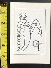 EX LIBRIS erotic art postcard b&w book plate illustrated woodcut letterpress #26