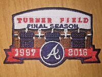 (2)Atlanta Braves Turner Field FINAL SEASON Jersey Patch(2) Iron On Sew Hoodie
