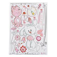 Cartoon Cat Rabbit Flower Wall Sticker Kids Rooms Home Decor Bear Umbrella BF