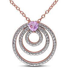 Rose Pink Silver Heart-cut Rose de France Circle Pendant Necklace