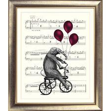 ART PRINT ORIGINAL VINTAGE MUSIC SHEET Page ELEPHANT BIKE BALLOONS Shabby Chic