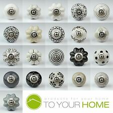 Black White Silver Grey Ceramic Door Knobs Handles Furniture Drawer Cupboard