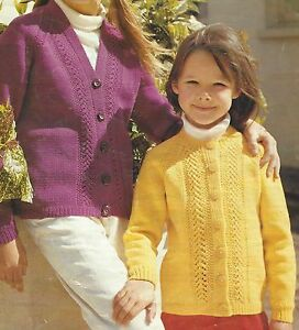 "Girls Cardigan Knitting Patterns Raglan Sleeves Lacy panel 26-30"" DK 570"