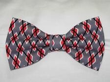 (1) PRE-TIED BOW TIE - GRAPHITE ARGYLE - RED, GRAY, BLACK & WHITE