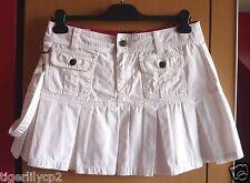 Witte korte jeans rok met plooien Maat M