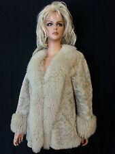VTG 80s Virgin Beige Sheep Wool Fur Coat Jacket Knight Taylors New Zealand S