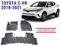 Floor Mats Set For Toyota C-HR CHR 2018-2021 Suv 3D Custom Fit Black Rubber Mat