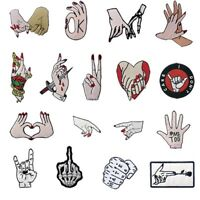 Clothes Embroidered patches Iron Sew on transfers Appliques Badges Lots Hands