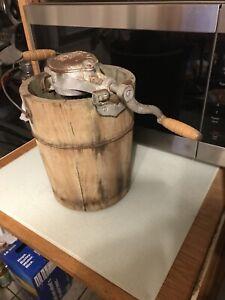 Vintage Hand Crank Wooden Ice Cream Freezer Maker -made In USA-NewFre-Zee-Zee 35