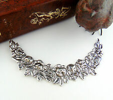 SILVER Floral Collar Swag Garland Flower Stamping ~ Antique Silver Finding  FC-8