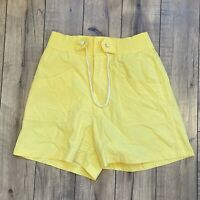 Vintage 80's Justin Allen Womens Large Flowy Yellow elastic Tie waist shorts