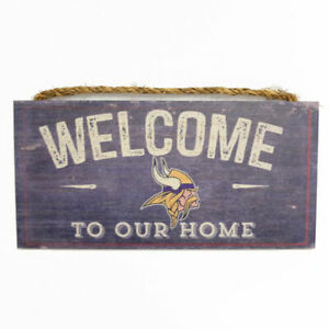 """NFL Welcome To Our Home Minnesota Vikings Wood Sign 12"""" x 6"""""""