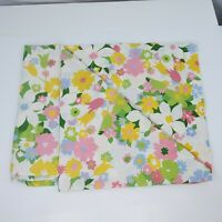 """VTG Cannon Monticello Floral Twin Flat Sheet 72"""" x 104"""" Retro Pink, Blue, Yellow"""