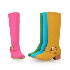 """Women""""s Faux Suede Knee Thigh High Boots Block Mid Heels Round Toe Ladies Shoes"""