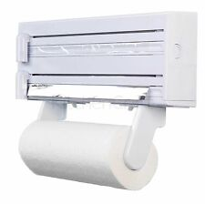 Kitchen Towel Foil Dispenser Cling Film Roll Holder Cutter Wall Mounted Plastic