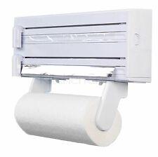 Kitchen Towel Foil Dispenser Cling Film Roll Holder Cutter Wall Mounted Plastic