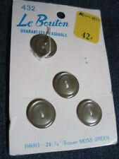 ANT/VTG LE BOUTON PARTIAL CARD MOSS GREEN SATIN/MOONGLOW LUC/PLA BUTTONS QTY 4