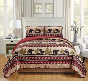 Rustic TWIN XL Sized Bear and Moose Navajo Southwestern Quilt Set Bedspread 2pc