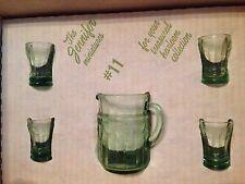 NIB MOSSER GLASS Child Juice Set GREEN - MINI PITCHER 4 TUMBLERS Jennifer #11