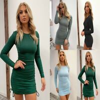 Women's Sexy Slim Casual Solid Mini Dress Lady Bodycon Long Sleeve Party Dresses