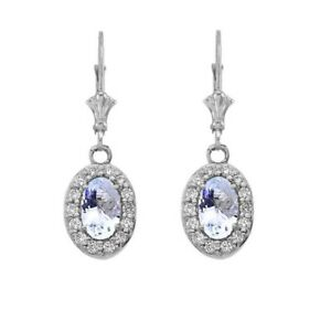 Solid 10k 14k White Gold Diamond And Aquamarine Oval  Leverback Earrings Set