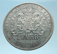 1897 SWEDEN King Oscar II Shield Genuine Silver 2 Kronor SWEDISH Coin i77973