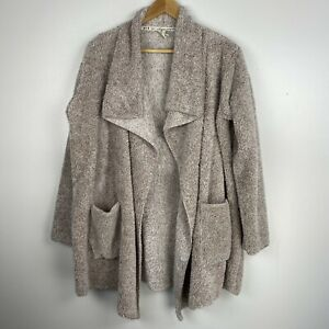 Hue S M Sherpa open Fuzzy Cardigan Sweater Lounge Casual Brown Drape Pocket Cozy