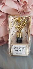 Gold *Glitter* Heart Wine Bottle Stopper NEW in Pkg - Valentines Day!!!