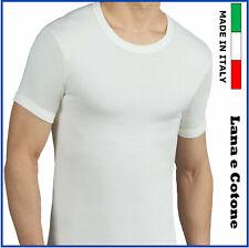 T-shirt da uomo intima taglie forti girocollo in lana e cotone maglia intimo