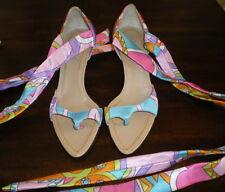 DIBRERA Paolo Zanoli HEELS Shoes 36 1/2 Euro 6.5 USA MOD TIES Ankle SANDALS