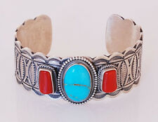 and Turquoise Bracelet Mike Calladito Navajo Handmade Sterling Silver with Coral