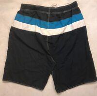 Mens XXL 2XL Board Shorts Navy Blue White Striped Swim Trunks Drawstring Pockets