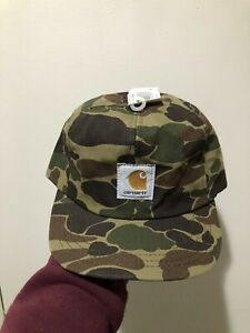 Vintage 80s Carhartt Duck Canvas Camo Ear Flap Winter Hat Cap Size M Made In USA