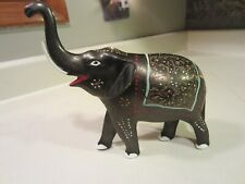 Vintage collectible metal hand painted/etched Elephant