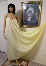 CLAIRE SANDRA by LUCIE ANN BH vintage Nylon Nightgown LEMON YELLOW size L large