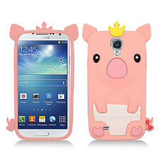 Samsung Galaxy S4 S IV Rubber SILICONE Skin Soft Case Phone Cover Hot Pink Pig