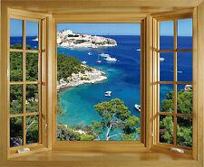 Sticker trompe l'oeil fenêtre Les Calanques 100x82cm 228