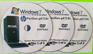 HP Pavilion p6719c Factory Recovery Media 3-Discs / Windows 7 Home 64-bit