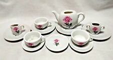 Vintage Dusty Rose Lot 13 Porcelain Doll Tea Set Made Japan Plate Cup Pot Sugar