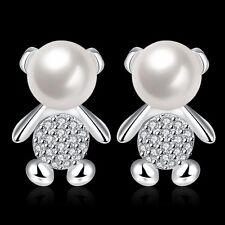 Teddy Bear Pearl Earrings Cubic Zirconia Jewellery Girls Gift Animal Jewelery