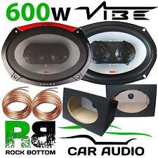VIBE PULSE 600 Watts a Pair 3-Way CAR VAN Speakers & 6x9 BLACK Pod Box PAIR