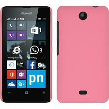 Hardcase for Microsoft Lumia 430 Dual rubberized pink Cover + protective foils