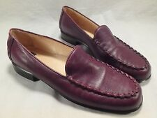 Womens Anne Klein Dark Purple Burgundy Leather Slip On Loafers Shoes 7 Run Small