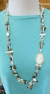 Artisan Multi-Pearl Necklace Carved Mermaid Coin, Bar, & Seed Pearls Glass Beads