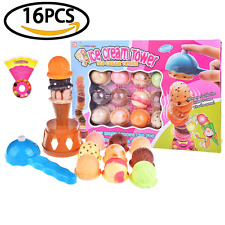 Children's Balance Game Set Colorful Ice Cream Cone Tower With Scooper Plastic F