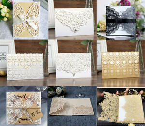 50pcs Lace Bowknot Wedding Invitations Evening Party Invitation Card + Envelope
