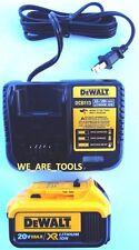(1) New Genuine Dewalt 20V DCB204 4.0 AH Battery, (1) DCB113 Charger 20 Volt MAX