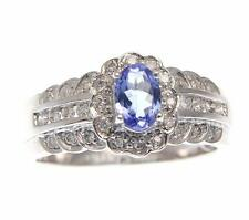 0.60ct CT ORIGINALE OVALE TANZANITE diamante solitario SET ANELLO IN PURO 14K