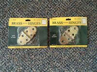 """Vintage Lot Of 2"""" NOS """" Brainerd Mfg.Co.No.077XC Brass Plated Hinges With Screws"""